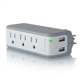 Belkin - Mini Surge Protector with USB Charger