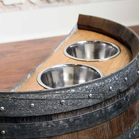BOURBON & BOOTS - Authentic Reclaimed Napa Valley Wine Barrel Dog Feeder