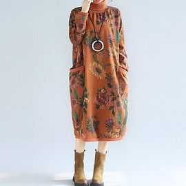 Women's Floral dress, Doll long sleeve dress, Winter plus velvet dress