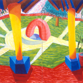 David Hockney - A Walk Around the Hotel Courtyard, Acatlan, 1985 oil on 2 canvases, 72x240 in.