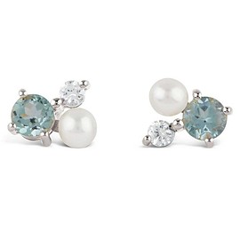 Dinny Hall - Silver Gem Drop Trilogy Topaz and Pearl Stud Earrings