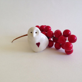 createM - Snow owl, heart, porcelain owl, by CreationM