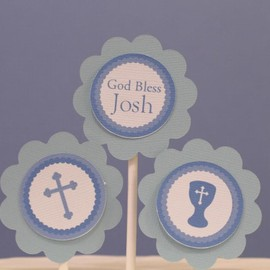 Luulla - God Bless Blue Cross Cupcake Toppers