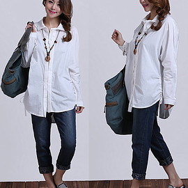 etsy - irregular white cotton long sleeved shirt  casual lapel shoulder tread Shirt