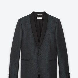 Saint Laurent - Classic Single Breasted Jacket in Green-Black Textured Polyester Jacquard