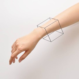 MIRTA for MARIOS - Gray-Coated SILVER CUBE BRACELET