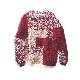 POURTON DE MOI - HAND-KNITED  PATCH WORK SWEATER  RED