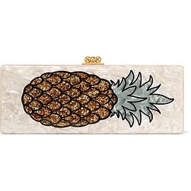 Edie Parker - Flavia Pineapple glittered acrylic box clutch