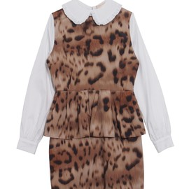 Honey mi Honey - Pleats collar leopard one-piece