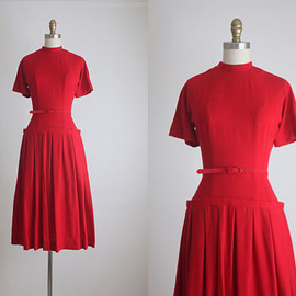 1950s candy apple fall dress