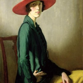 William Strang(1859-1921) - Lady with the red hat, 1918.    Portrait of Vita Sackville-West.
