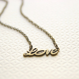 Luulla - Love Necklace Antique Brass Tone Bridesmaid Gifts Maid of Honor Gifts Valentines Day Gift