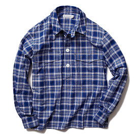 HEAD PORTER PLUS - CHECK PULLOVER SHIRT BLUE
