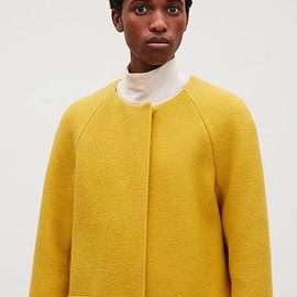 COS - Round-neck A-line coat in Yellow