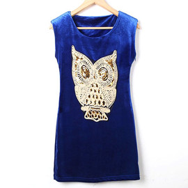 Punk Style Chic Paillette Owl Sleeveless Dress