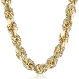 Men's 14k Yellow Gold 9mm Hollow D-Cut Rope Chain Necklace