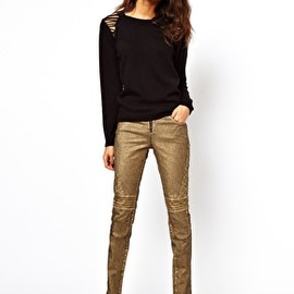 ASOS - Biker Skinny Jeans in Distressed Bronze