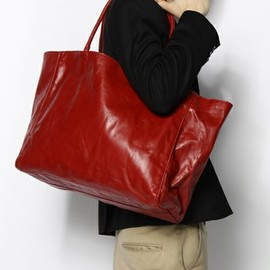 green label relaxing - leather tote bag