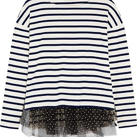 J.Crew - Polka-dot tulle-trimmed striped jersey top