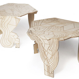 Moroso - Doodle Table; plywood table with burnt-on doodles