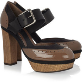 MARNI Patent-leather and suede wooden pumps - Marni