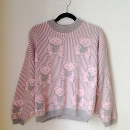 Pastel Grunge Bear Sweater Size Small 1990s