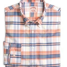 Brooks Brothers - Orange and Yellow Multiplaid Oxford Sport Shirt