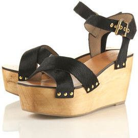 TOPSHOP/TOPMAN - WYNNA Pony Skin Wood Wedges
