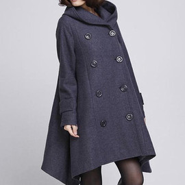 etsy - Double breasted Hoodie wool coat/ winter wool coat/ hood Cloak coat