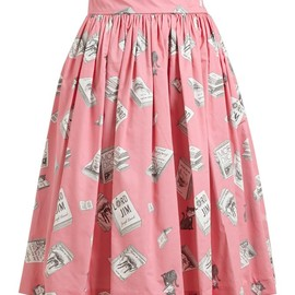 Olympia Le-Tan - Book Printed Pleated Cotton Skirt