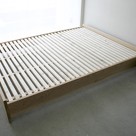 NAUT - 237|01_Resize standard furniture Plate bed frame : Solid ash oil finish / White wood