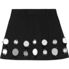 Miu Miu - Embellished wool crepe mini skirt