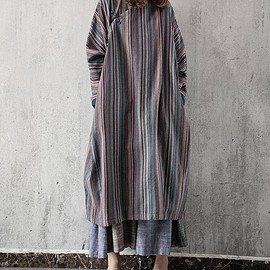 stripe dress - Women oversized long stripe dress Loose Long sleeve long gown/ blue/ grey