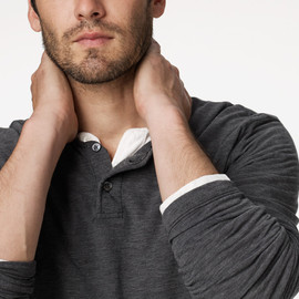 JAMES PERSE - HEATHERED PIQUE HENLEY