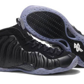 air foamposite one stealth and all black sneaker men