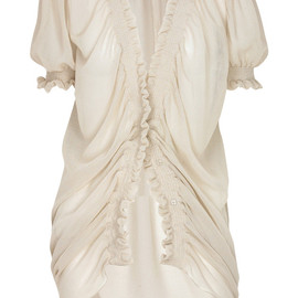 Fendi - Sheer ruched cotton blouse