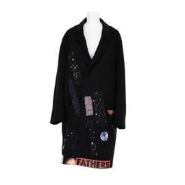 RAF SIMONS, STERLING RUBY - Patchwork coat with sticker prints