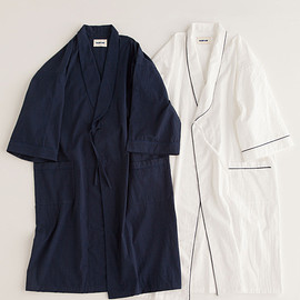"""NOWHAW - """"amenity"""" gown #navy / #white ガウン/パジャマ/シアサッカー"""
