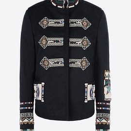 """VALENTINO - SS2016 Rock jacket in gabardine chino with """"Indian Ribbons"""" embroidery"""