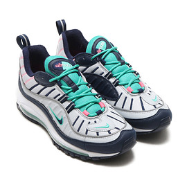 NIKE - NIKE AIR MAX 98  PURE PLATINUM/OBSIDIAN-KINETIC GREEN