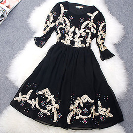 fashion - Colorful snowflakes leaf embroidery short sleeves bodycon skater dress