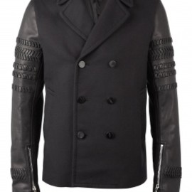 3.1 Phillip Lim - BLACK LEATHER BRAID BIKER SLEEVE PEA COAT