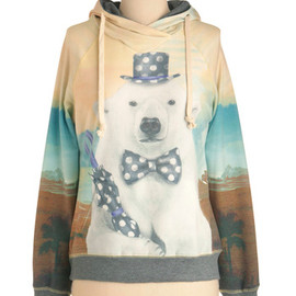 Reverse Polarity Top - Mid-length, Casual, Multi, Blue, Brown, Tan / Cream, White, Print with Animals, Vintage Inspired, Long Sleeve, Hoodie