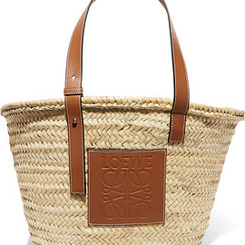 LOEWE - leather trimmed woven raffia tote
