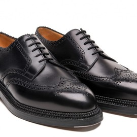 J.M. Weston - Medallion wing-tip Derby, triple sole.