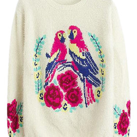 romwe - Double Birds and Floral Knitted White Jumper