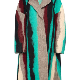 MARNI - FW2014 Green Stripe Felt Coat