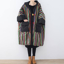 Hooded cloak coat - women Cotton oversized loose Winter clothes Comfortable maternity padded coat Long Hooded cloak coat