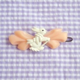 "1950's ""WHITE BUNNY with PINK RIBBON"" Vintage Barrette"