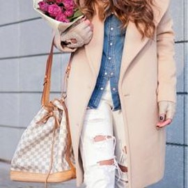 Denim shirt with Ripped Jeans and White Sneakers